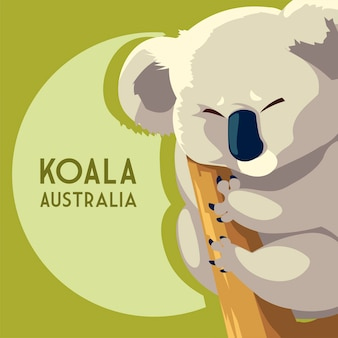 Ilustração da vida selvagem animal australiana coala marsupial