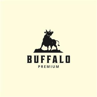 Ilustração da vida selvagem animal selvagem búfalo modelo de design de logotipo silhueta vintage