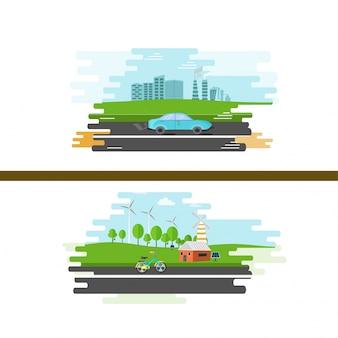 Ilustração da visão urbana e rural para ecologia.