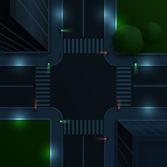 Ilustração da vista aérea da estrada com cruzamento e semáforos à noite