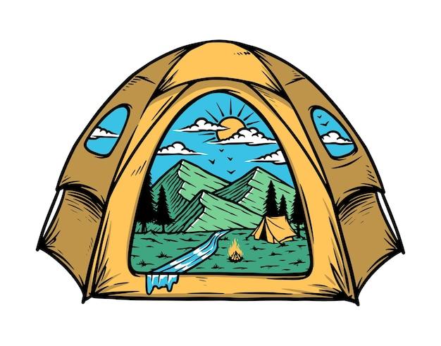 Ilustração da vista da montanha dentro da minha barraca Vetor Premium