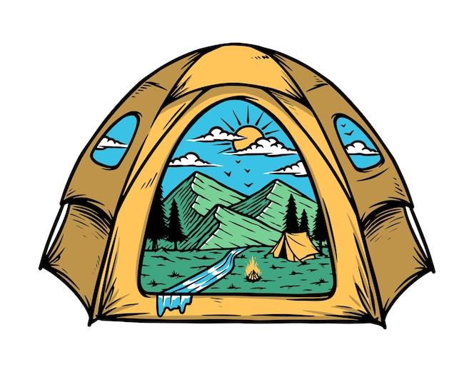 Ilustração da vista da montanha dentro da minha barraca