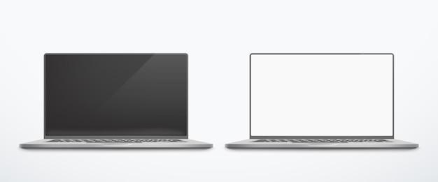 Ilustração da vista frontal de laptops prateados