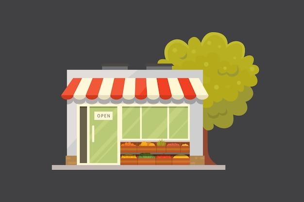 Ilustração da vista frontal do edifício da loja da loja.