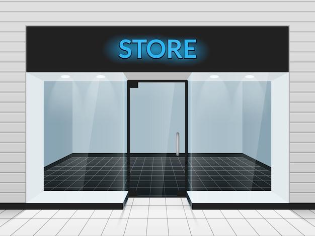 Ilustração da vista frontal ou frontal da loja. modelo de design de fachada de loja de moda