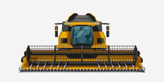 Ilustração da vista frontal realista do veículo colheitadeira isolado