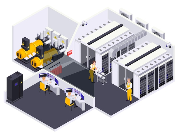 Ilustração da vista isométrica do interior da instalação do data center
