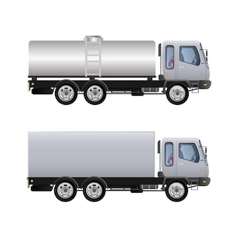 Ilustração da vista lateral do conjunto de caminhões