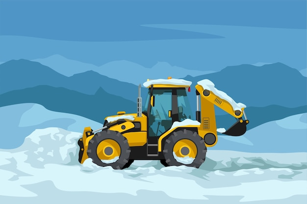 Ilustração da vista lateral do trator amarelo realista, limpando a neve