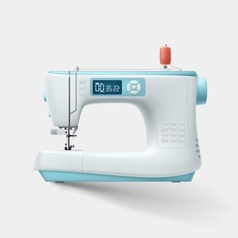 Ilustração da vista lateral na máquina de costura moderna realista de duas cores, isolada no fundo branco com sombra suave