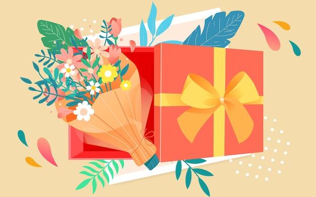 Ilustração da vista superior da caixa de presente de ação de graças para comemorar o pôster de presente do dia dos namorados