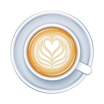 Ilustração da vista superior da xícara de café. bebida quente.