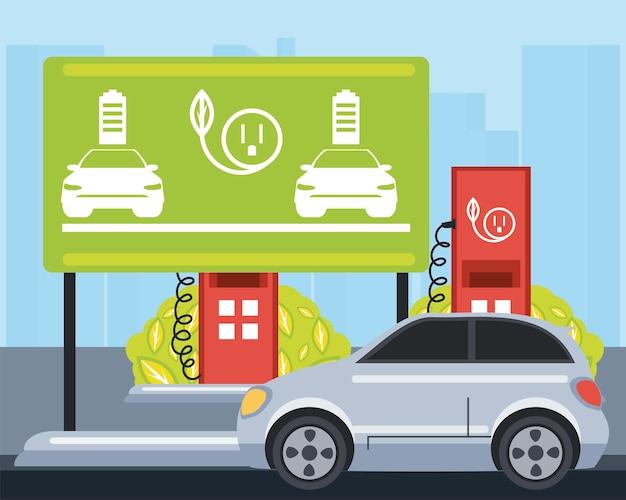 Ilustração da zona da estação de carga da placa de sinalização de tráfego de carro elétrico