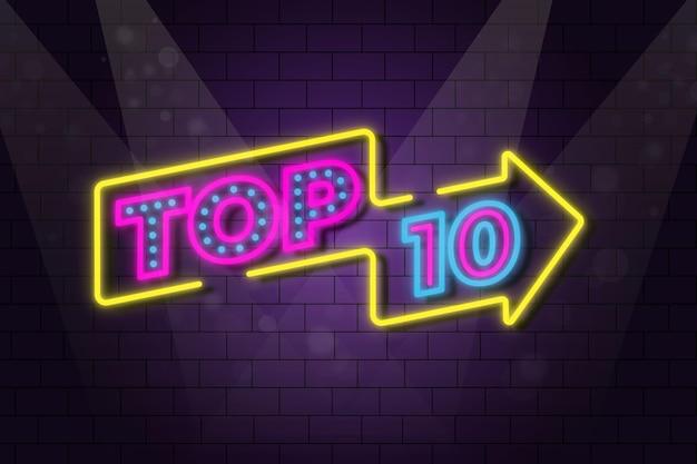 Ilustração das 10 principais luzes de néon