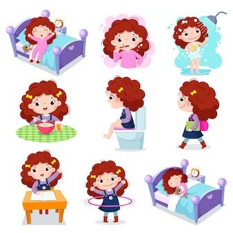 Ilustração das atividades diárias de rotina de uma linda garota