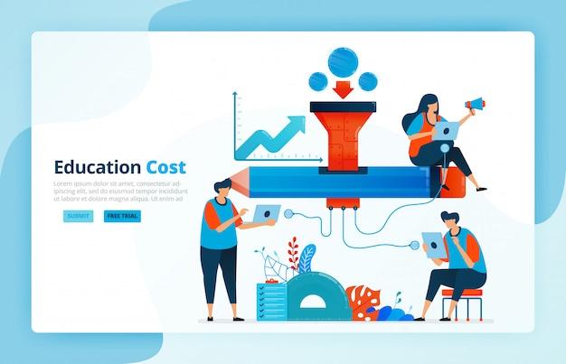 Ilustração das atividades do financiamento da educação. rede de bolsas e educação. programa de assistência financeira para estudantes. acesso financeiro.