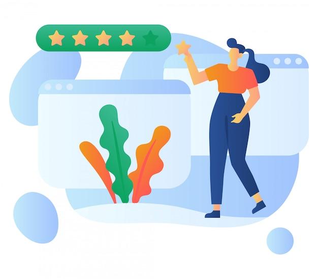 Ilustração das avaliações do cliente