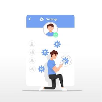 Ilustração das configurações do perfil