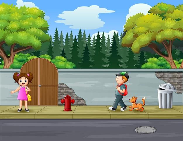 Ilustração das crianças na calçada