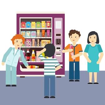Ilustração das escolhas da máquina de venda automática.