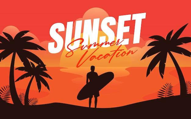 Ilustração das férias de verão por do sol
