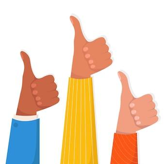 Ilustração das mãos mostrando os polegares. aprovação pública, reconhecimento do público e opinião positiva.