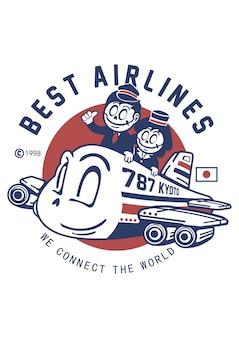 Ilustração das melhores companhias aéreas desenhada à mão