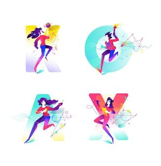 Ilustração das meninas no fundo das cartas. imagem para banner do site e impressa. geometria.