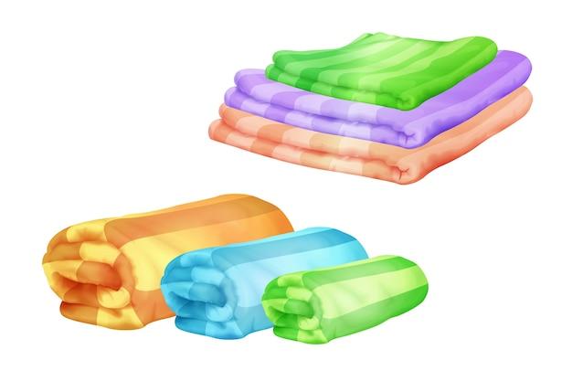 Ilustração das toalhas de banho das pilhas de toalha da cor dobradas e roladas.