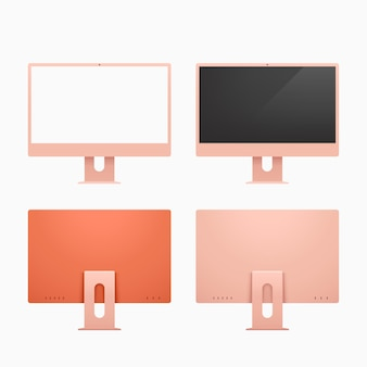 Ilustração das vistas frontal e traseira de computadores desktop modernos