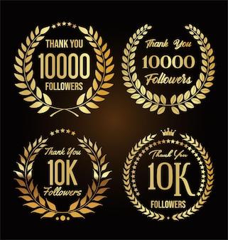 Ilustração de 10.000 seguidores com agradecimento e coroa de louros dourada