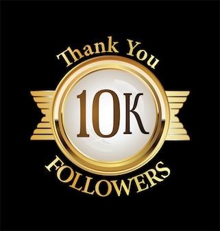 Ilustração de 10.000 seguidores com agradecimento