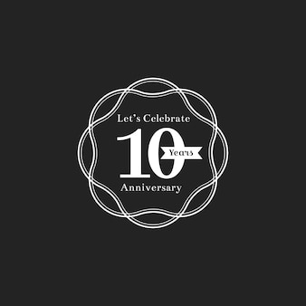 Ilustração, de, 10th, aniversário, selo, bandeira
