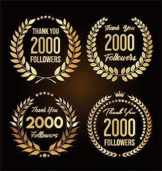 Ilustração de 2.000 seguidores com agradecimento e coroa de louros dourada