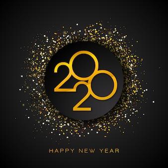 Ilustração de 2020 feliz ano novo com número de ouro e confetes caindo sobre fundo preto.
