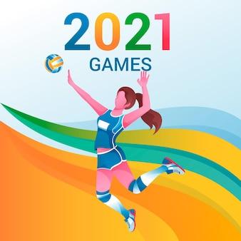 Ilustração de 2021 de jogos de esporte gradiente