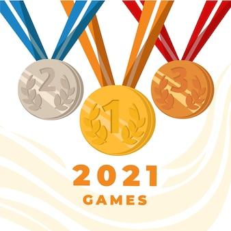 Ilustração de 2021 de jogos de esporte plana