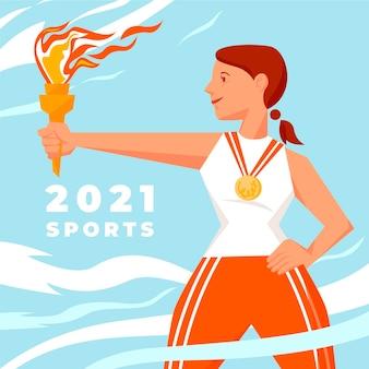 Ilustração de 2021 de jogos esportivos desenhados à mão
