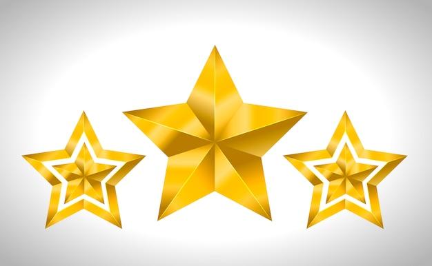 Ilustração de 3 estrelas douradas natal feriado de ano novo natal 3d