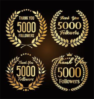 Ilustração de 5.000 seguidores com agradecimento e coroa de louros dourada