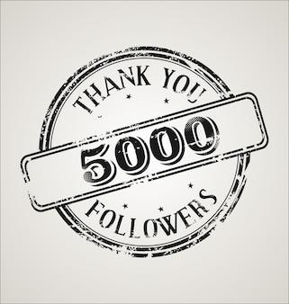 Ilustração de 5.000 seguidores com carimbo de borracha grunge de agradecimento