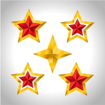 Ilustração de 5 estrelas douradas natal feriado de ano novo natal 3d