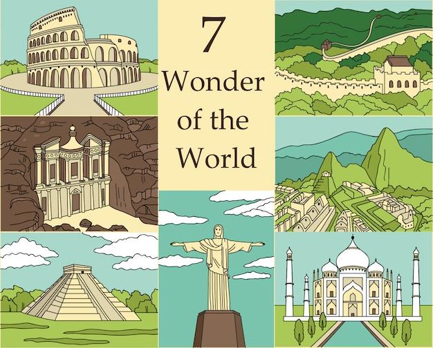 Ilustração de 7 maravilhas do mundo