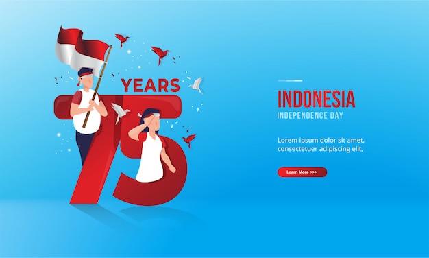 Ilustração de 75 anos para cartões do dia nacional da indonésia