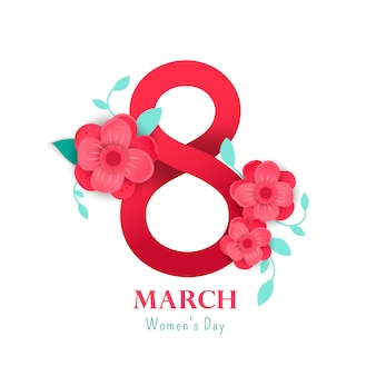 Ilustração de 8 números com flores