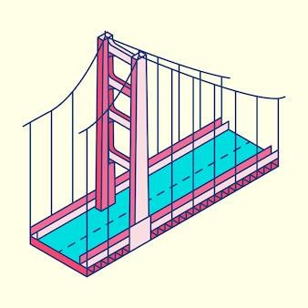 Ilustração, de, a, ponte dourada portão, são francisco, em, eua