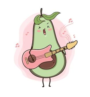 Ilustração de abacate cantando com violão