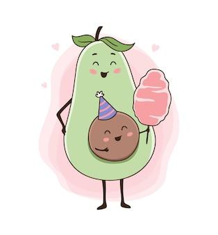 Ilustração de abacate comendo doce