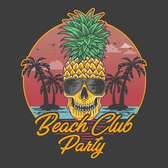 Ilustração de abacaxi de caveira de festa de clube de praia