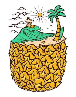 Ilustração de abacaxi e praia